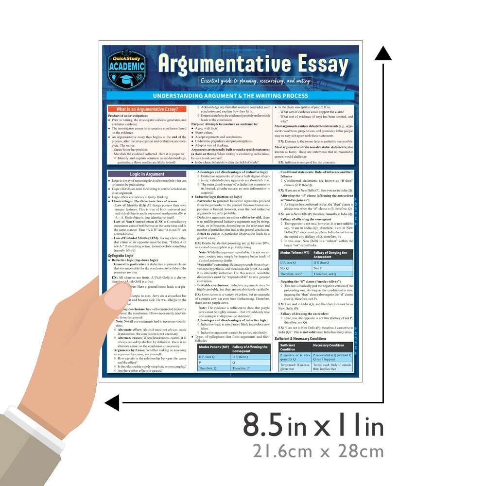 Quick Study QuickStudy Argumentative Essay Laminated Study Guide BarCharts Publishing Language Arts Reference Guide Size