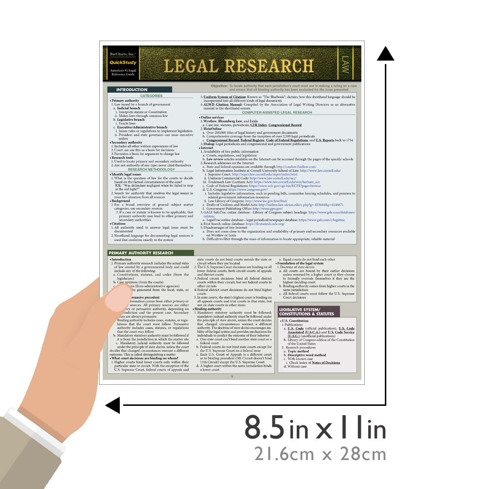 Quick Study QuickStudy Legal Research Laminated Study Guide BarCharts Publishing Law Reference Outline Guide Size