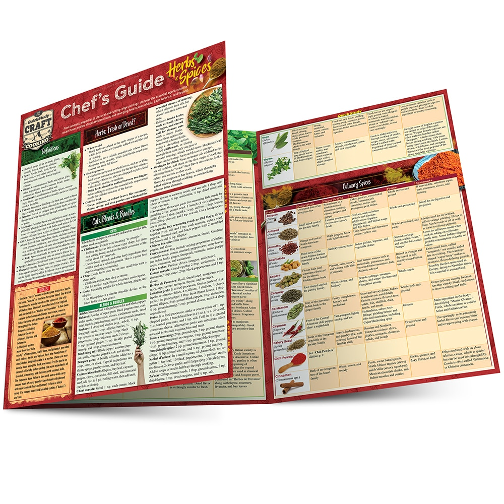 Quick Study QuickStudy Chef's Guide to Herbs & Spices Laminated Reference Guide BarCharts Publishing Culinary Reference Outline Main Image
