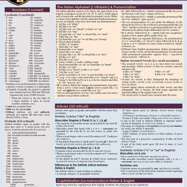 QuickStudy Quick Study Italian Grammar Laminated Study Guide BarCharts Publishing Foreign Languages Cover Image