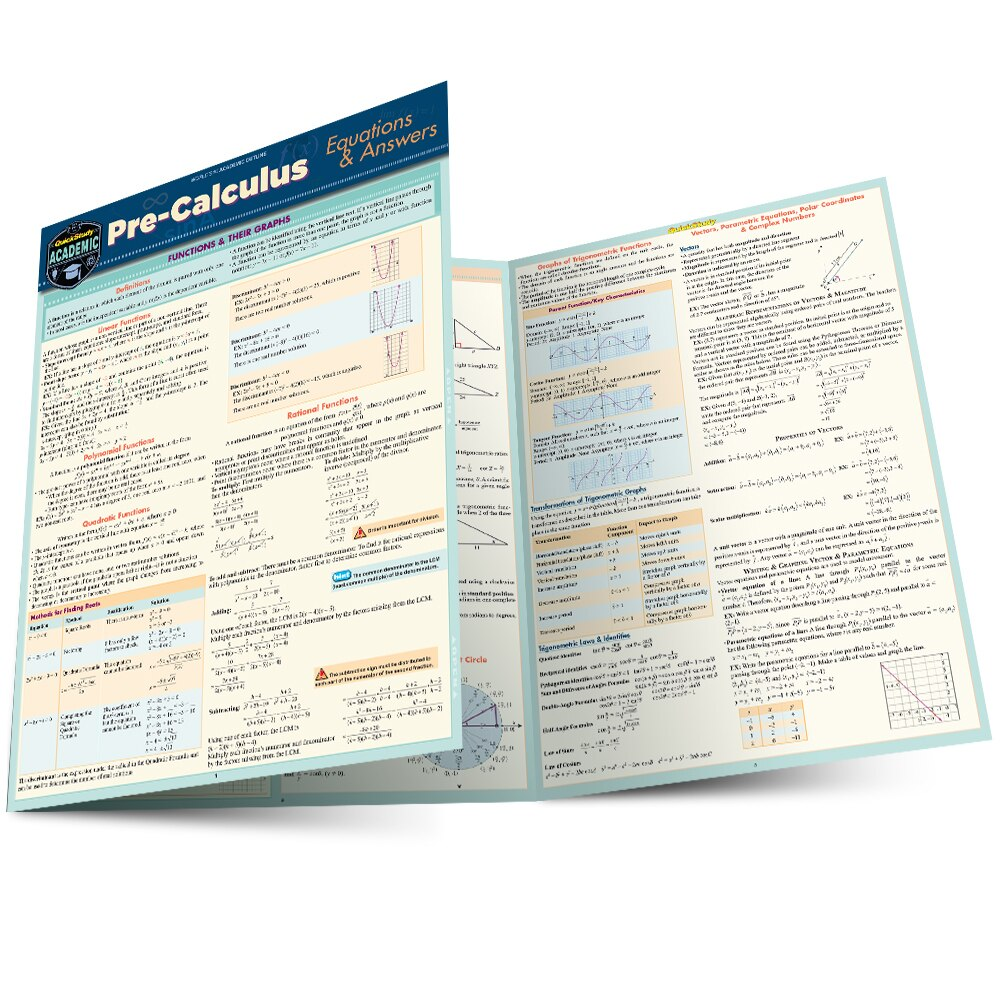 QuickStudy Pre-Calculus Equations & Answers Laminated Study Guide Main Image