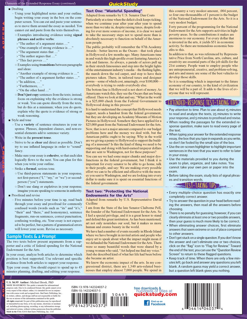 Quick Study QuickStudy GED Test Prep: Reasoning Through Language Arts Laminated Study Guide BarCharts Publishing Education Reference Guide Back Image