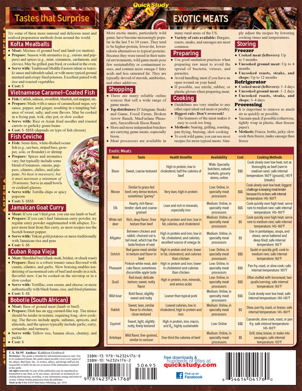 Quick Study QuickStudy Chef's Guide to Meat, Seafood & Poultry Laminated Reference Guide BarCharts Publishing Culinary Reference Outline Back Image
