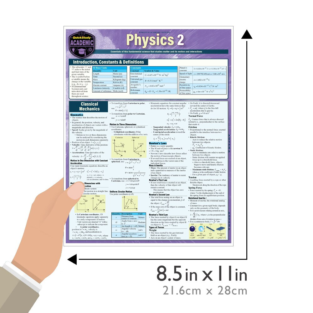 Quick Study QuickStudy Physics 2 Laminated Study Guide BarCharts Publishing Science Reference Guide Size