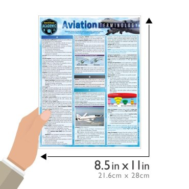 Quick Study QuickStudy Aviation Terminology Laminated Study Guide BarCharts Publishing Career Reference Guide Size