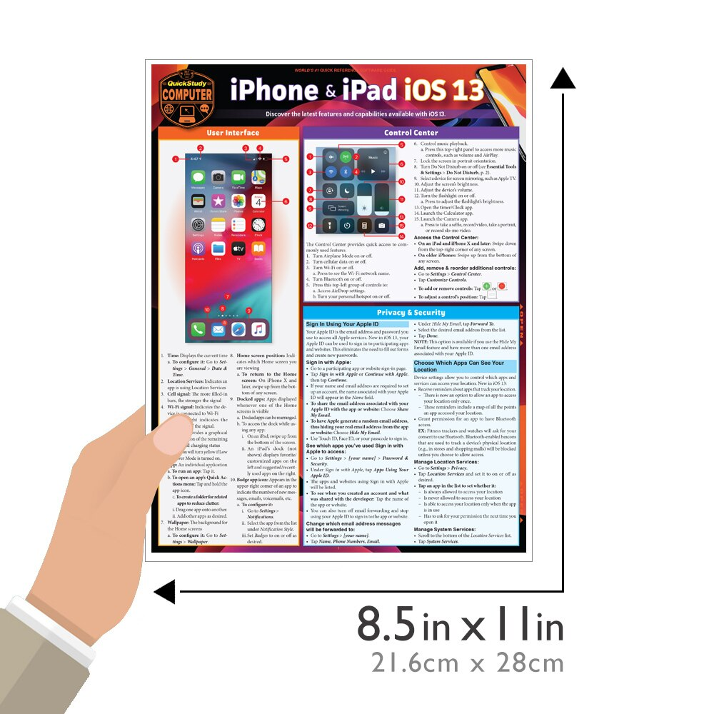 Quick Study QuickStudy iPhone & iPad iOS 13 Laminated Reference Guide BarCharts Publishing Mobile Operating System Reference Guide Size