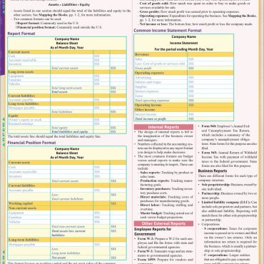 Quick Study QuickStudy Bookkeeping: Accounting for Small Business Laminated Study Guide BarCharts Publishing Career Reference Back Image