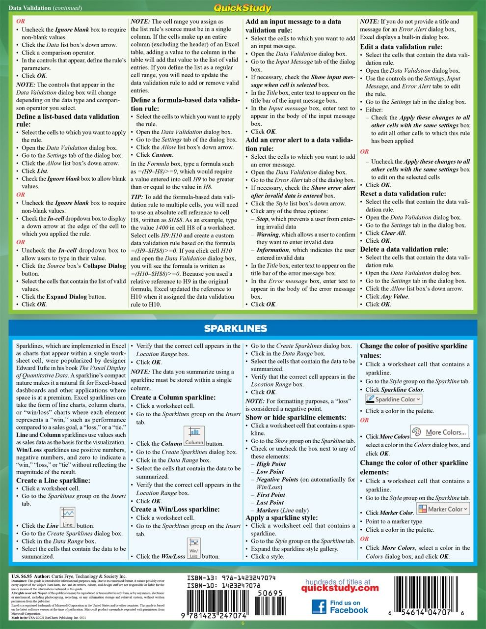 Quick Study QuickStudy Microsoft Excel 365: Advanced Laminated Study Guide BarCharts Publishing Computer Business Software Reference Back Image