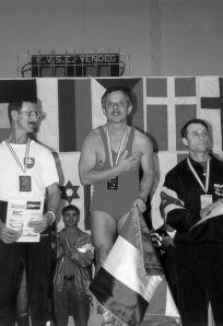 Pátrovics Géza a dobogó legmagasabb fokán a Masters súlyemelő Európa-bajnokságon elért eredményével.