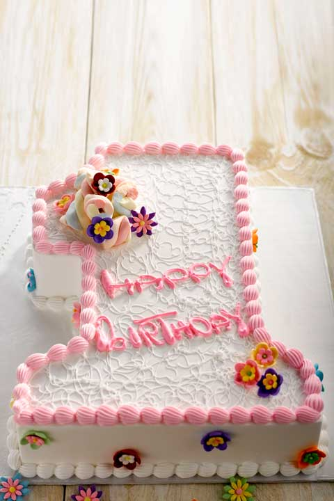 1st Birthday Cake Baby Girl Number One