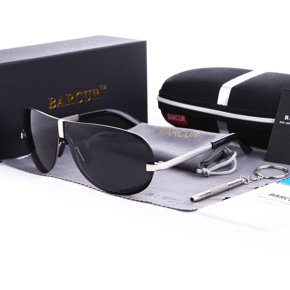 BARCUR Polarized Black Sunglasses Male Rimless Yellow Glasses Men Driving Night Vision Sunglasses for Men
