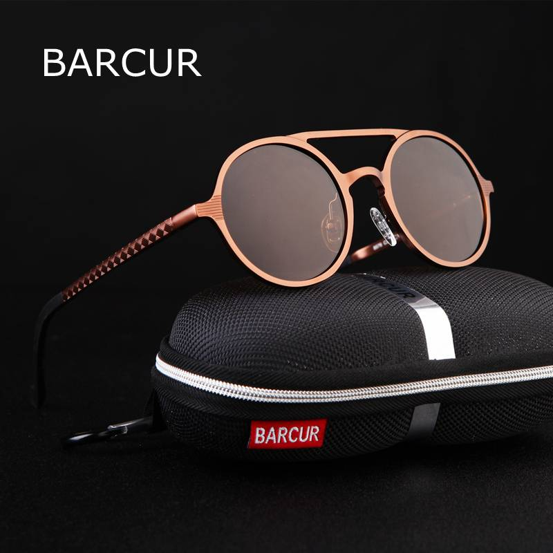 BARCUR Brand Designer Steampunk Retro Aluminum magnesium Sunglasses BC8888 Sunglasses for Men Aluminium Sunglasses Sunglasses for Women