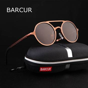 BARCUR Retro Aluminum Magnesium Sunglasses Polarized Vintage Eyewear Accessories Women Sun Glasses Driving Men Round Sunglasses BC8565 Sunglasses for Men Aluminium Sunglasses Round Series Sunglasses Sunglasses for Women