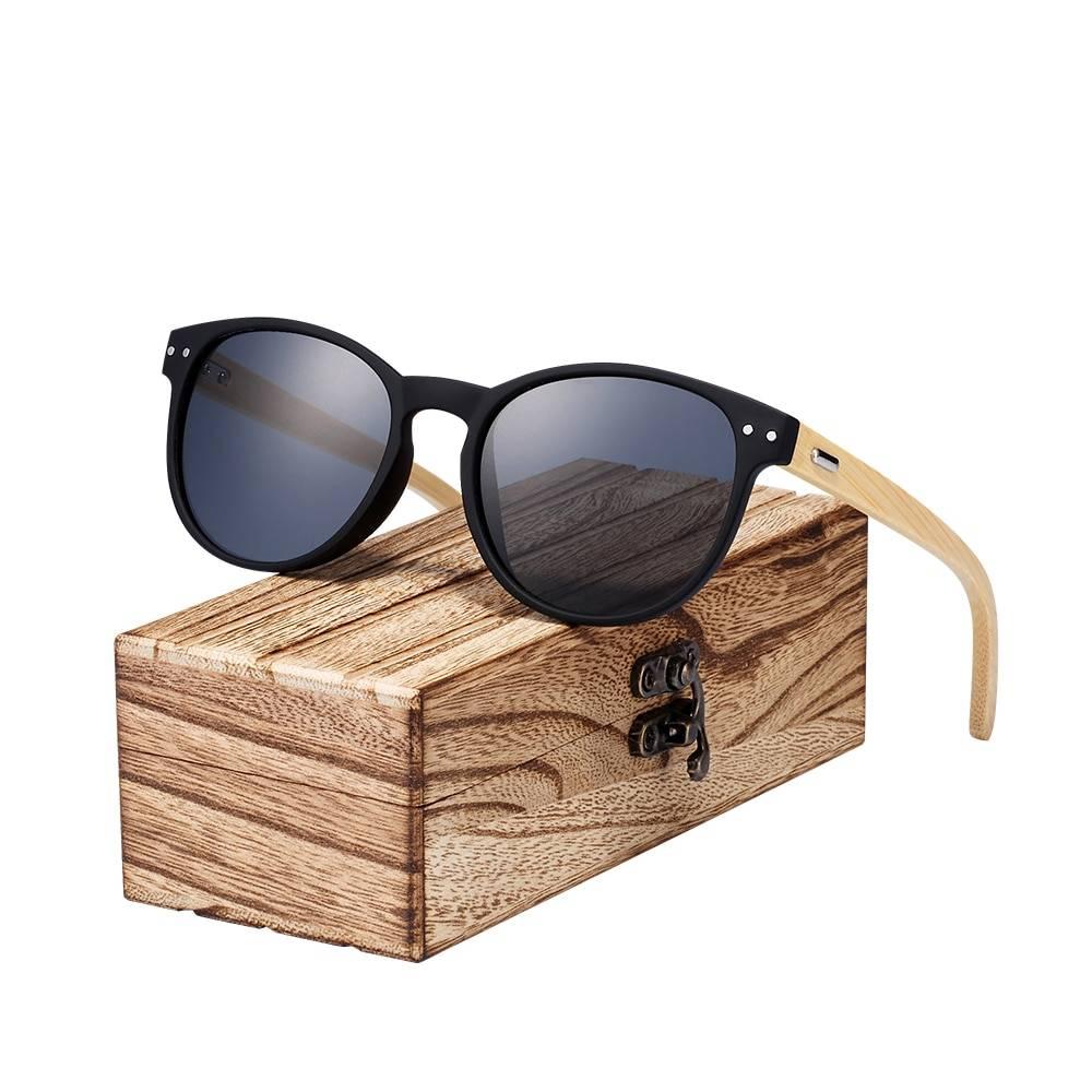 BARCUR Vintage Round Sunglasses Bamboo Temples Polarized Wood Sun glasses Men Women BC4130 Sunglasses for Men Sunglasses for Women Wooden Sunglasses