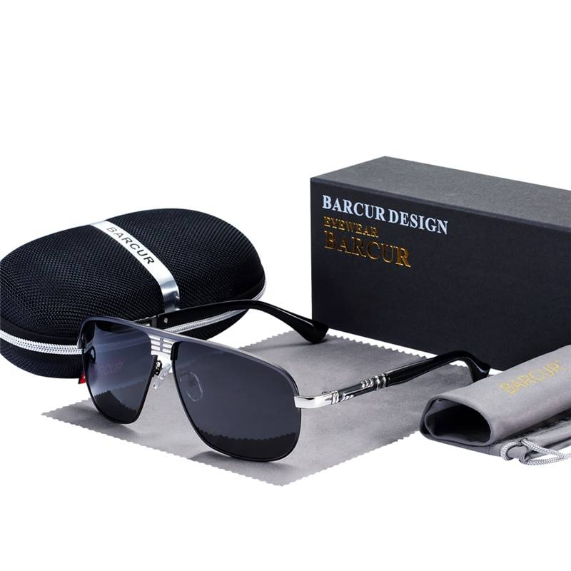 BARCUR Sunglasses Male Polarized Driver Glasses Eyes Protect With Accessories Box BC8272 Sunglasses for Men