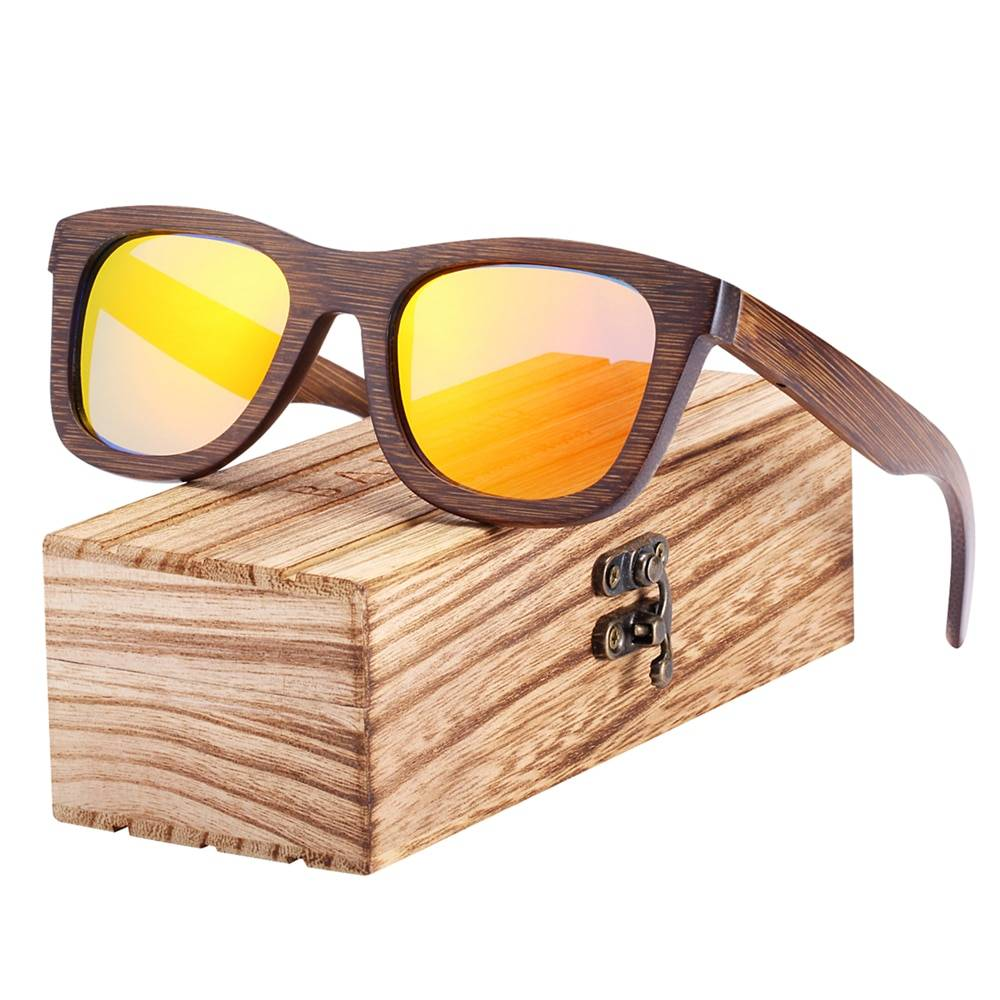 BARCUR Woode Sunglasses Men Women Sun glasses Brown Bamboo Glasses for Men Vintage BC8200 Sunglasses for Men Sunglasses for Women Wooden Sunglasses