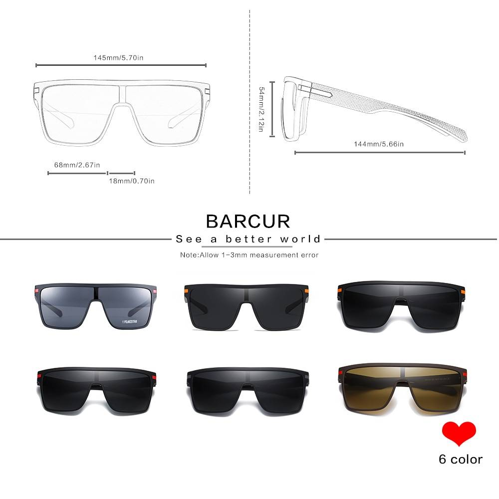 BARCUR Oversized Polarized Sunglasses Men Square Driving BC2365 TR90 material Sunglasses for Men TR90 Material Sunglasses