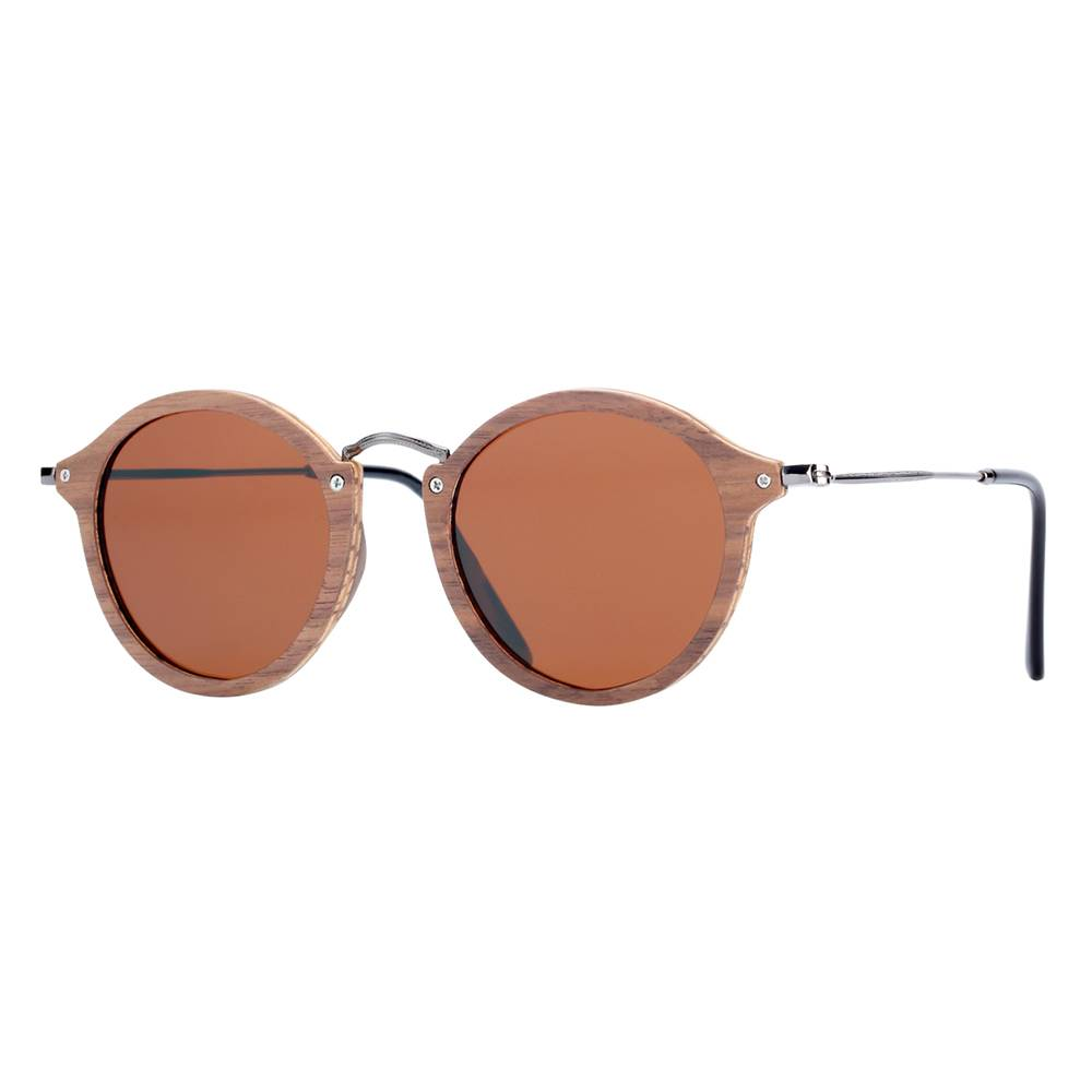 BARCUR Vintage Natural Black Walnut Sunglasses Round Polarized Wooden Men Women BC7106 Sunglasses for Men Sunglasses for Women Wooden Sunglasses