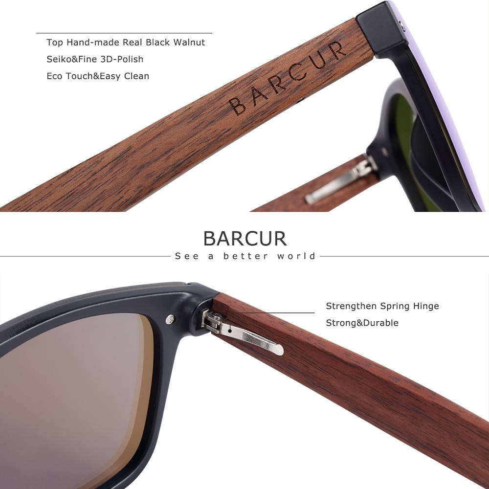 BARCUR Natural Black Walnut Men Women Polarized Sunglasses Wood UV400 BC4126 Sunglasses for Men Sunglasses for Women Wooden Sunglasses
