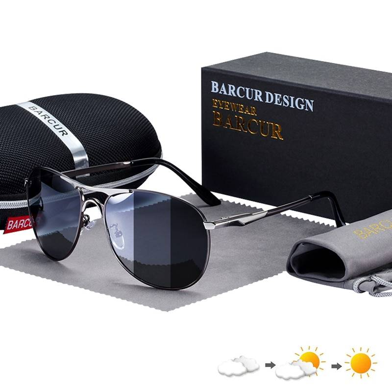 BARCUR Photochromic Sunglasses High Quality Men Polarized  Sun Glasses UV400
