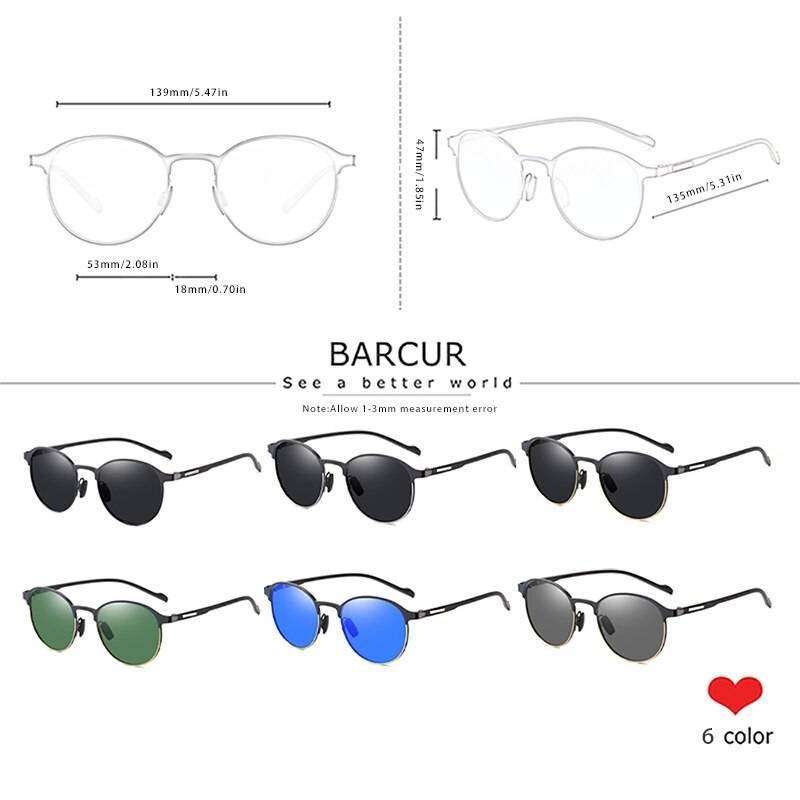 BARCUR TR90 Temples Sunglasses Women Polarized Fashion Driving Round Ladies