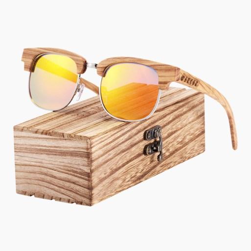 BARCUR - Γυαλιά Ηλίου Bamboo Clubmaster Style με Orange Polarized Φακό (8101)
