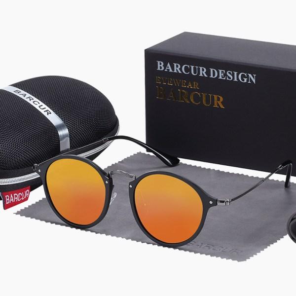 BARCUR - Γυαλιά Ηλίου Round Stainless Black Σκελετός & Orange Φακός Polarized (8575)