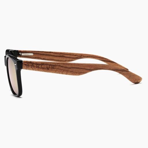 BARCUR - Γυαλιά Ηλίου Bamboo Zebrawood Wayfarer Style Μαύρα με Rose/Gold Polarized Φακό (8720)