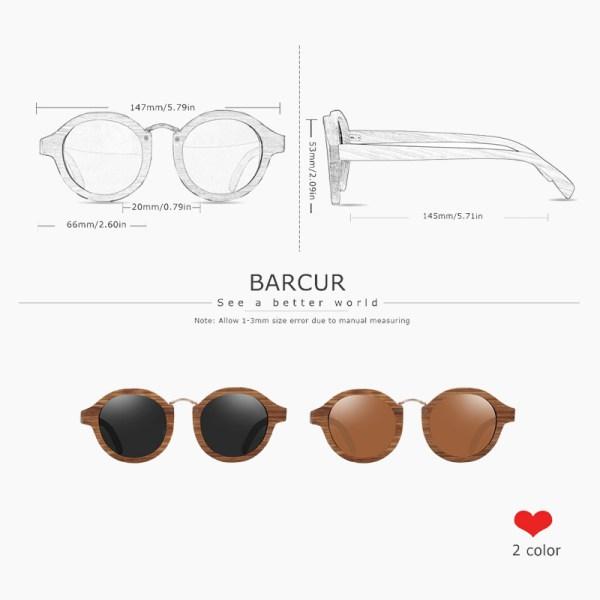 BARCUR - Γυαλιά Ηλίου Zebrawood Round Style με Tea Polarized Φακό (7104)