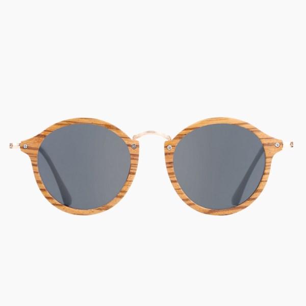 BARCUR - Γυαλιά Ηλίου Zebrawood Vintage Round Style με Black Polarized Φακό (7105)
