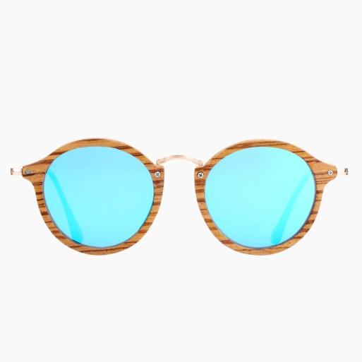 BARCUR - Γυαλιά Ηλίου Zebrawood Vintage Round Style με Sky Blue Polarized Φακό (7105)