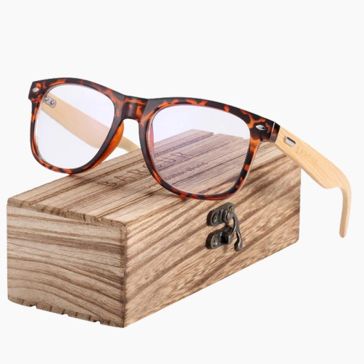 BARCUR - Γυαλιά Anti-Blue Ray Bamboo Wayfarer Style Leopard (4175)