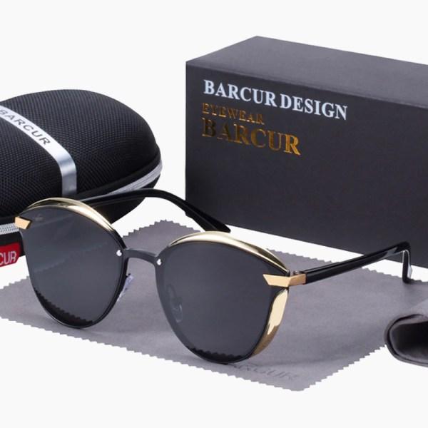BARCUR - Γυαλιά Ηλίου Lifestyle Gold/Black Σκελετός & Black Φακός Polarized (8705)