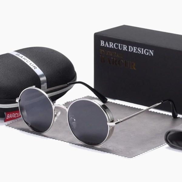 BARCUR - Γυαλιά Ηλίου Round Stainless Gold Σκελετός & Black Φακός Polarized (8370)