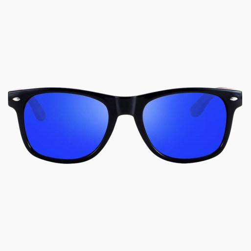 BARCUR - Γυαλιά Ηλίου Walnut Wayfarer Style Μαύρα με Dark Blue Polarized Φακό (8700)