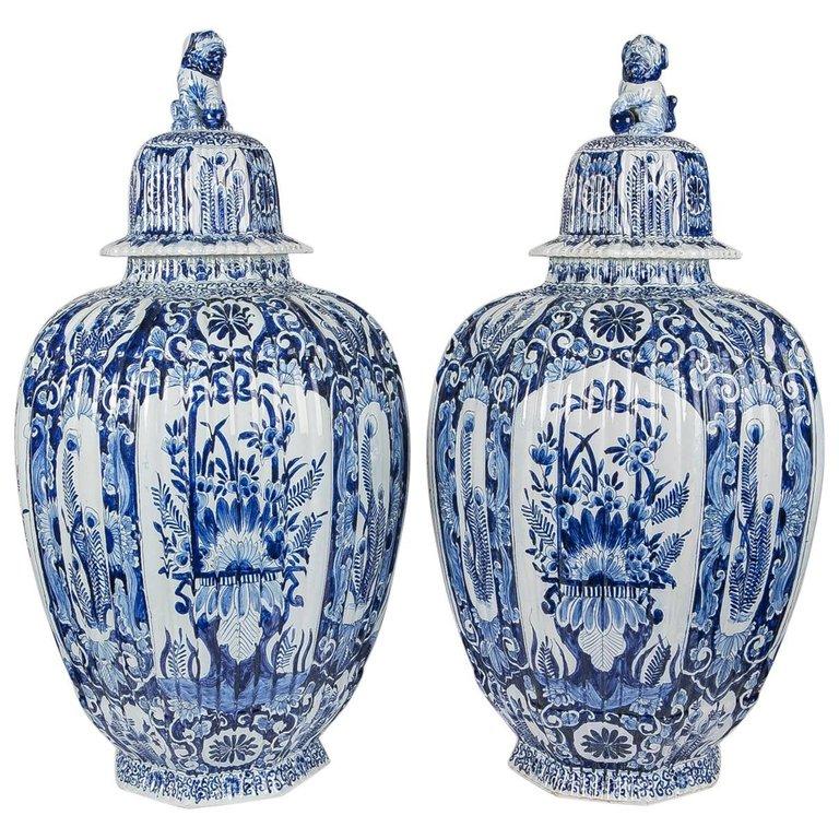 Blue And White Delft Jars Blue And White Dutch Vases