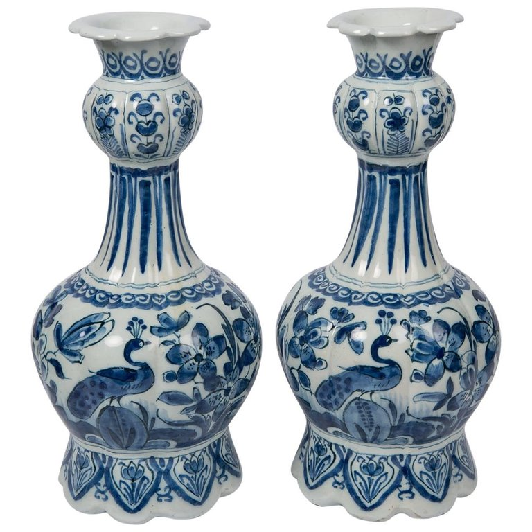 Pair Of Blue And White Dutch Delft Vases Bardith Ltd