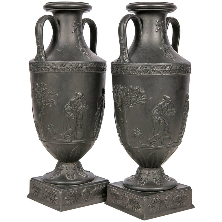 Antique Wedgwood Black Basalt Vases Wedgwood Black Basalt At