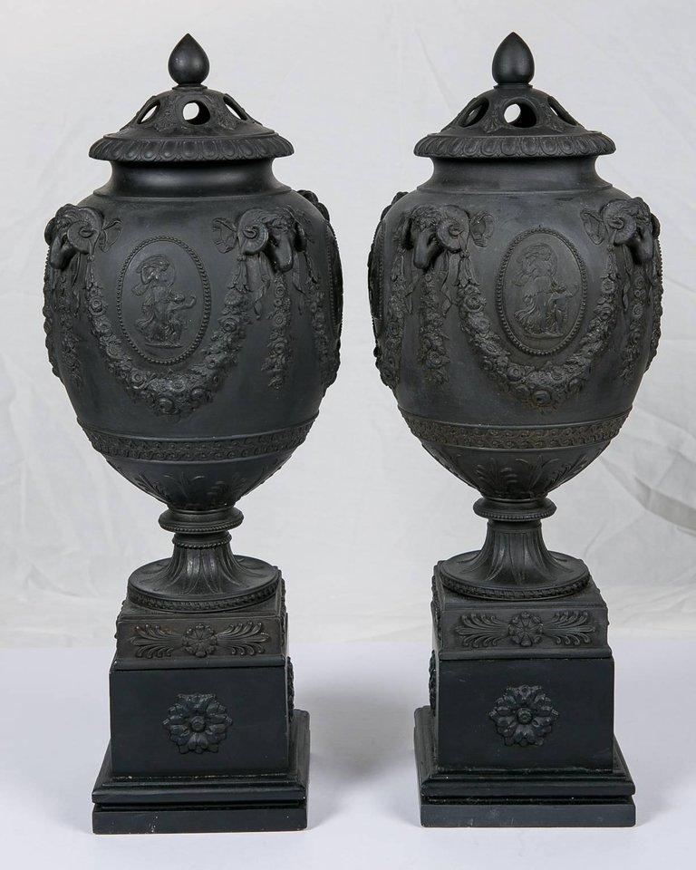 Black Basalt Wedgwood Urns On Stands Black Basalt Pottery From