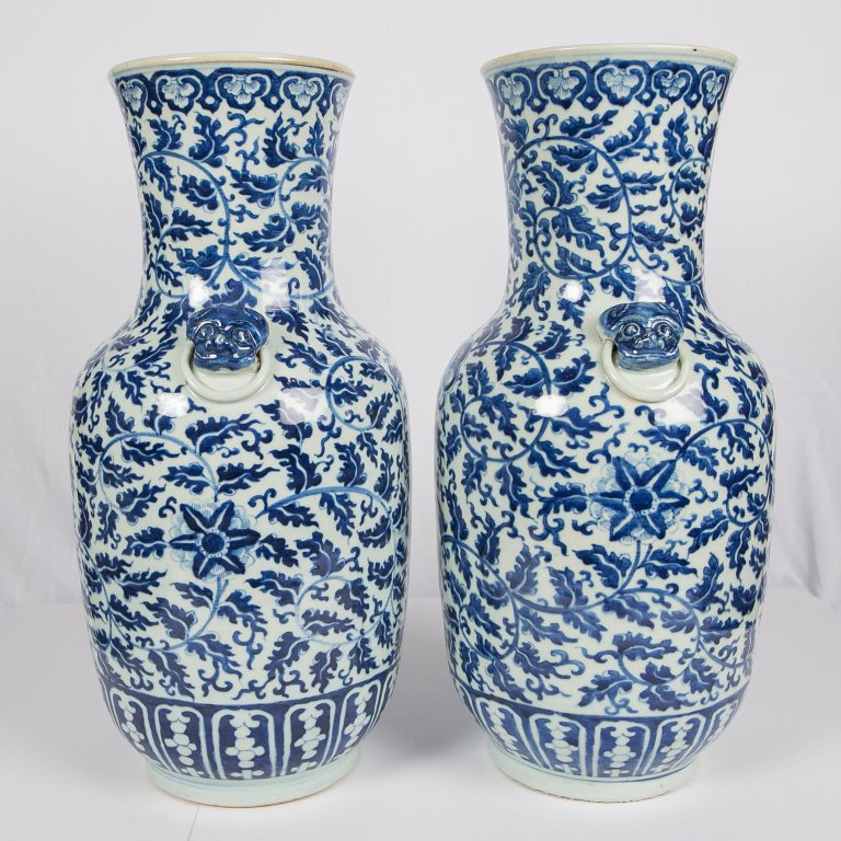 Pair Of Antique Chinese Blue And White Porcelain Vases Bardith Ltd