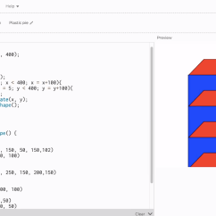 Student's work in Computer Science Class. We learned to write codes for creating shape, rotating it, and create multiple to corresponds to each today!