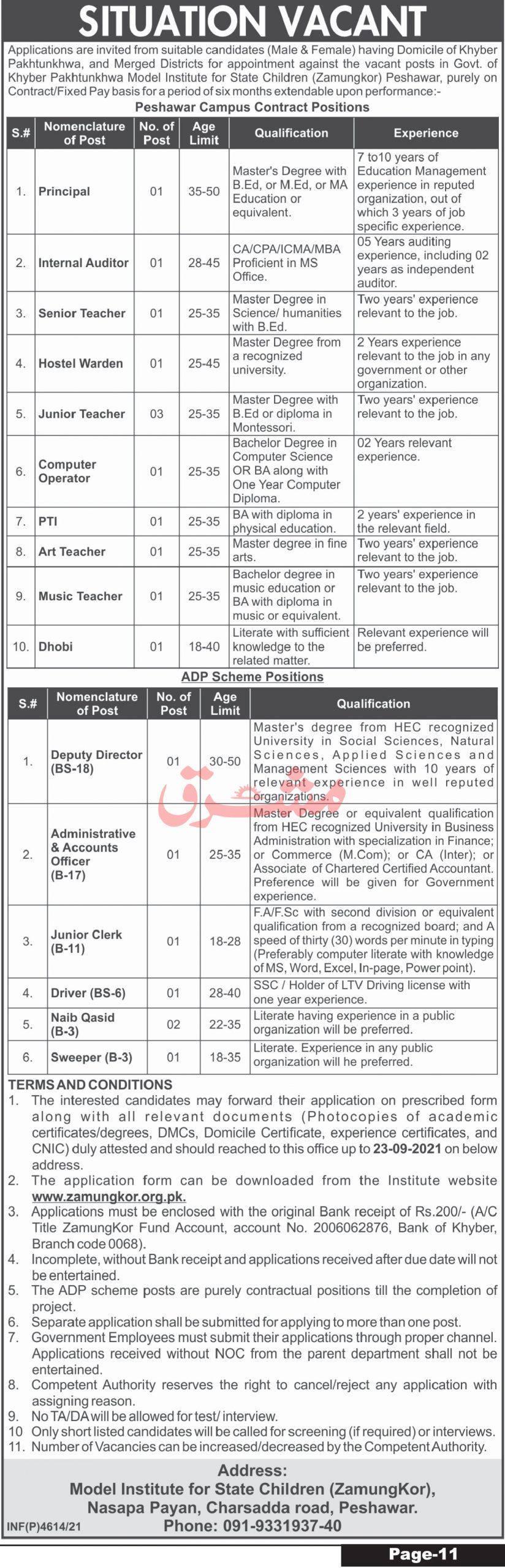 Model Institute of State Children Peshawar Jobs September 2021