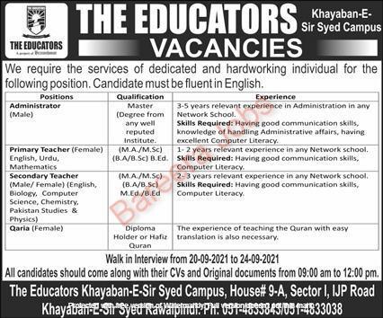 The Educators Jobs September 2021