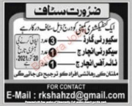 Latest Private Company Security Posts Multan 2021