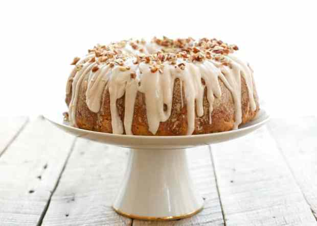 Banana Bundt Cake with Cinnamon Cream Cheese Icing - traditional and gluten free recipes included