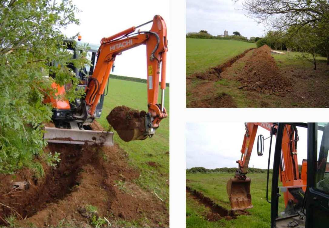 diggers digging trenched for the safari tent services at barefoot glamping Cornwall