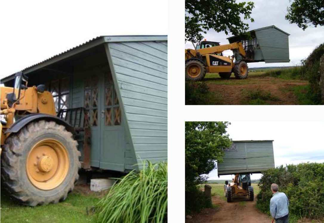 the teleandar lifting and moving the wooden honesty shop at barefoot glamping Cornwall