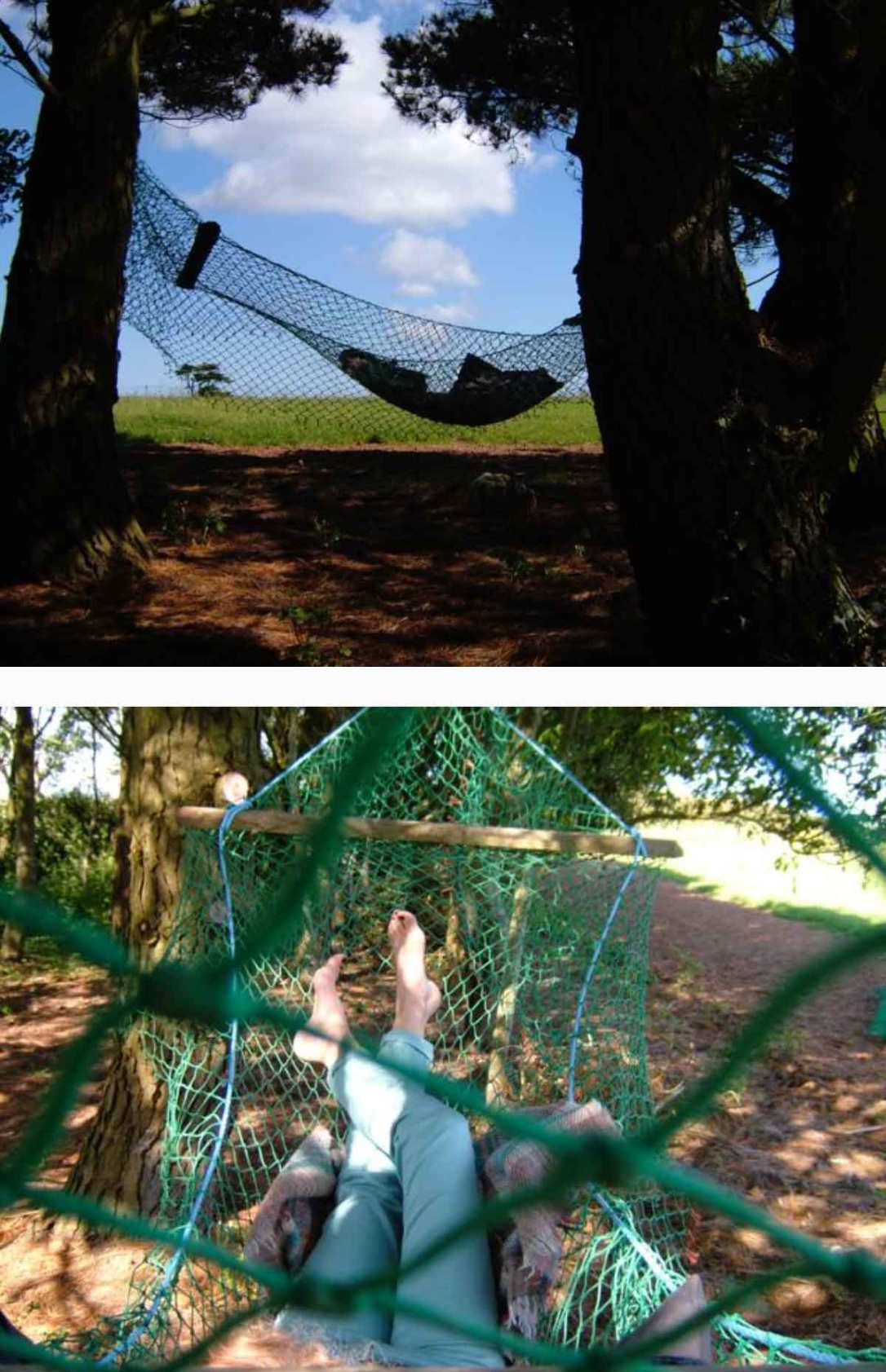the up cycled fishing net hammock in the woods at barefoot glamping Cornwall