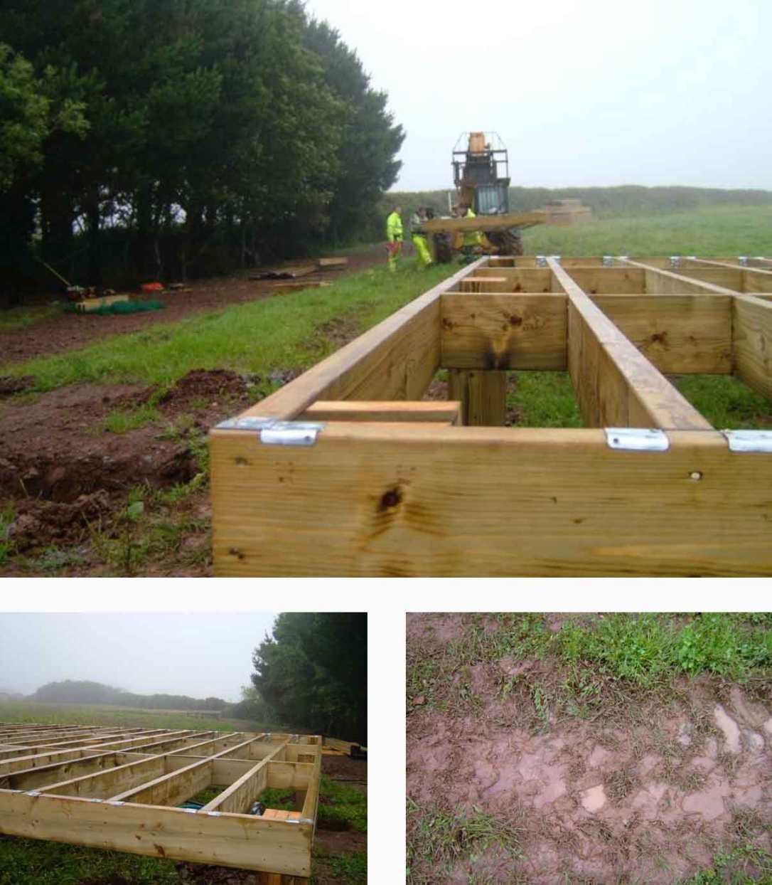 the wooden deck frames being set in the meadow at barefoot glamping Cornwall