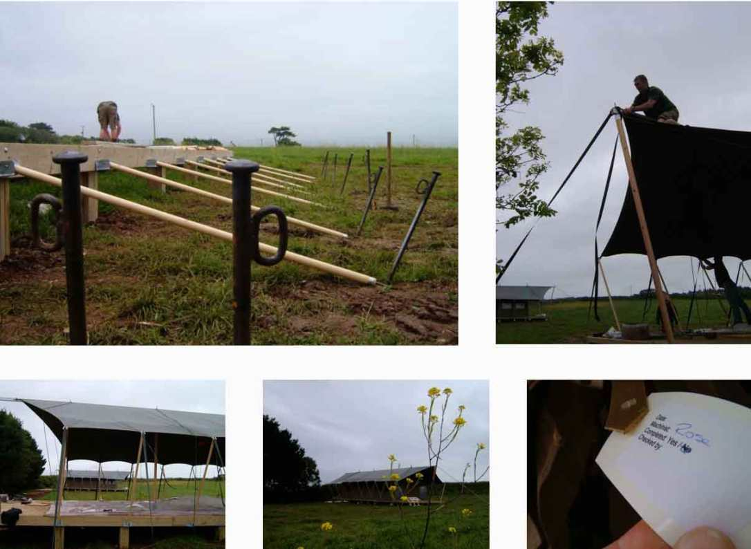 the safari tent being installed on their wooden decks at barefoot glamping cornwall